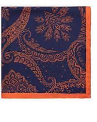 Barneys New York Paisley Print Silk Twill Pocket Square