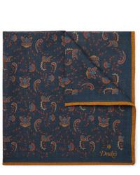Drake's Printed Wool And Silk Blend Pocket Square