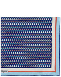 Salvatore Ferragamo Sailboat Print Silk Pocket Square