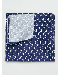 Topman Navy Dog Motif Pocket Square