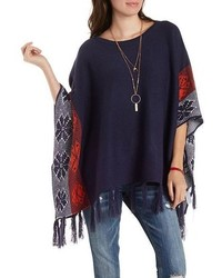 Border Print Fringe Poncho Sweater