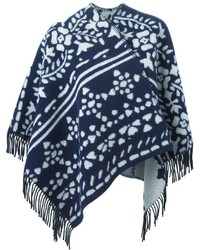 Burberry Jacquard Knit Fringed Poncho
