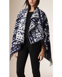Burberry Floral Jacquard Wool Cashmere Poncho