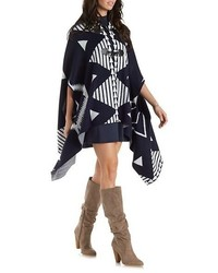 Geometric Print Toggle Poncho Sweater