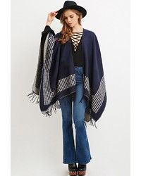 Forever 21 Houndstooth Patterned Shawl Poncho