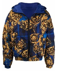 VERSACE JEANS COUTURE Baroque Print Hooded Padded Jacket