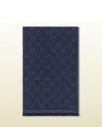 Gucci Blue Gg Print Scarf