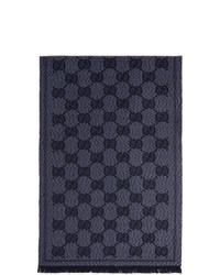 Gucci Blue Wool Gg Scarf