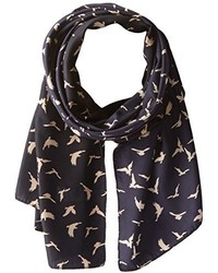 D&Y Kitchy Bird Print Oblong Scarf