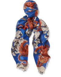 Gucci Fringed Tiger Print Modal And Silk Blend Scarf