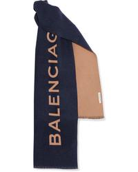 Balenciaga Intarsia Cashmere Scarf Blue