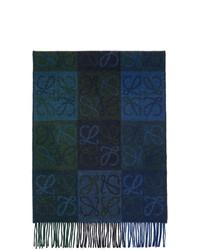 Loewe Navy And Green Wool Anagram Scarf