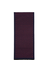 Gucci Navy And Red Wool Metallic Gg Scarf