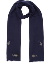 Janavi Navy Jewelled Bug Stole