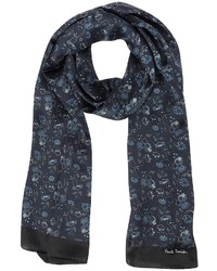 Paul Smith Navy Logan Floral Print Silk Scarf