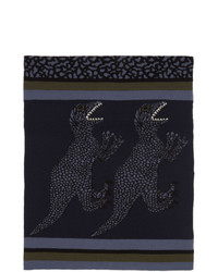Ps By Paul Smith Navy Wool Dino Scarf