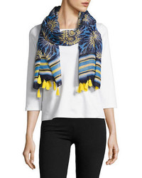 Raflla Plus Mixed Printed Tassel Scarf