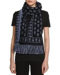 Skull print cold weather scarf navysky blue medium 3663812