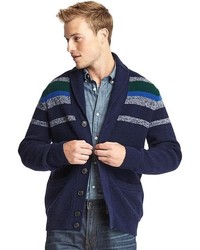 Navy Print Shawl Cardigan