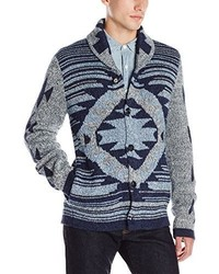 Lucky Brand Ladder Back Jacquard Shawl Seweater