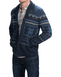 Woolrich Ultra Line Fair Isle Cardigan Sweater Button Front Wool