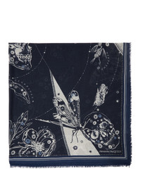 Alexander McQueen Off White And Navy Cosmos Shawl