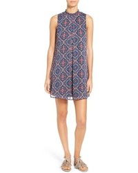 Print mock neck shift dress medium 700194