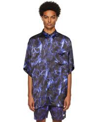 Vetements Blue Black Skulls Fluid Shirt