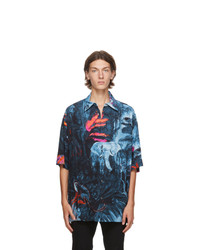 Valentino Blue Mural Jungle Shirt