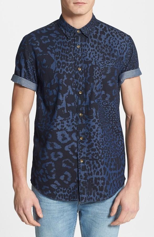 d9ddfb1ea18 ... Topman Classic Fit Mixed Leopard Print Short Sleeve Denim Shirt ...