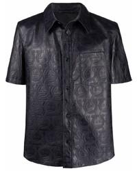 Salvatore Ferragamo Gancini Print Leather Shirt
