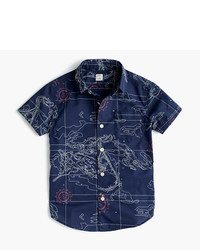 J.Crew Kids Short Sleeve Secret Wash Shirt In Nautical Map Print