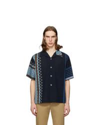 Loewe Navy Striped Anagram Bowling Shirt