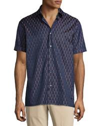 Salvatore Ferragamo Rectangle Print Short Sleeve Woven Sport Shirt Navy