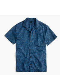 J.Crew Short Sleeve Camp Collar Shirt In Tonal Sea Print