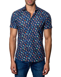 Jared Lang Skull Print Short Sleeve Shirt Navy