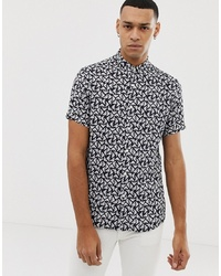 Emporio Armani Slim Fit All Over Logo Short Sleeve Shirt In Navy