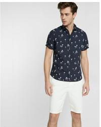 Express Tropical Print Short Sleeve Shirt