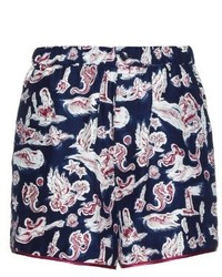 Piamita Bettie Mermaid Print Silk Shorts