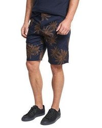 Vince Leaf Print Chino Shorts Navy