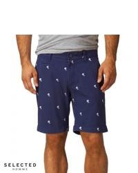 Selected Three Paris Chino Shorts Twilight Blue