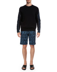Givenchy Star Print Flat Front Shorts Navy