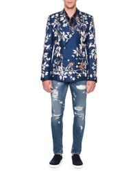 Dolce & Gabbana Bird Print Double Breasted Silk Blazer Blue