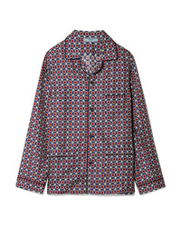 Prada Oversized Printed Silk Satin Twill Shirt