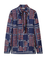 Valentino Pussy Bow Printed Silk Twill Shirt