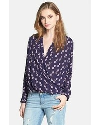 Pleione faux wrap blouse navy ground ivory spade print medium medium 102991