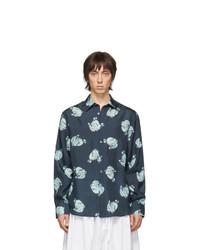 Lanvin Navy Silk Straight Shirt