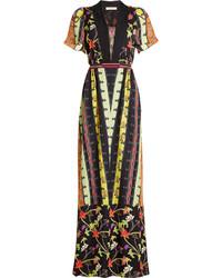 Printed silk maxi dress medium 960577