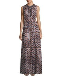 Tory Burch Renata Sleeveless Printed Silk Maxi Dress