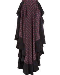Lanvin Asymmetric Ruffled Printed Silk Maxi Skirt Navy